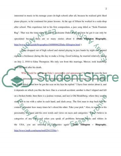 Duke Ellington essay example