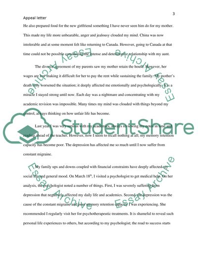 Appeal letter (defer standing)