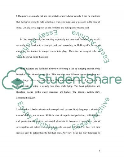 Can I use body language to determine if a person is lying essay example