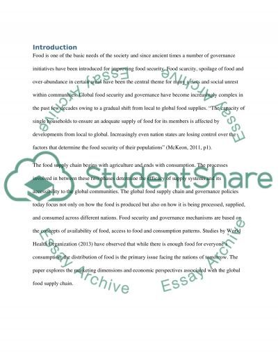 Influences of economics and marketing on relationships in the global food supply chain essay example