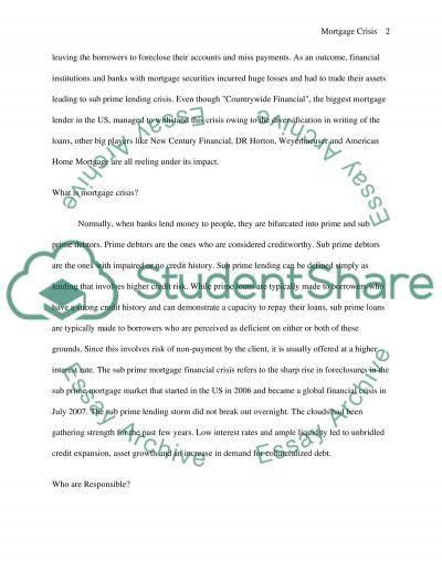 Mortgage Crisis College Essay essay example