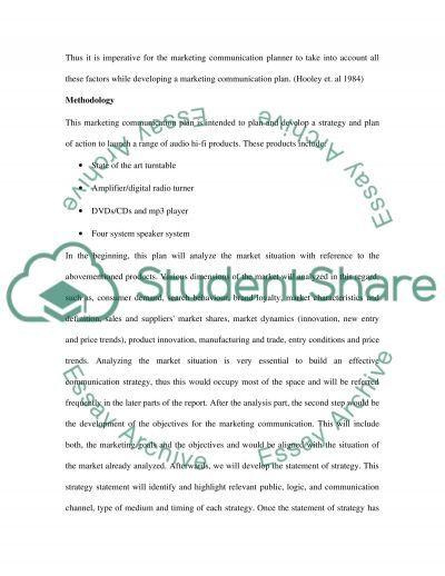 Marketing Communication Plan essay example