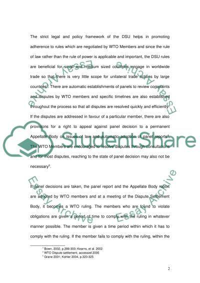Dispute Settlement Understanding essay example