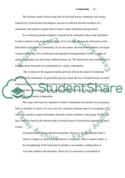 Cummunity essay example