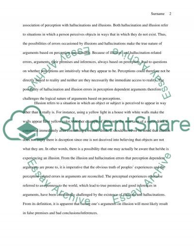 Perception Dependence Argument essay example
