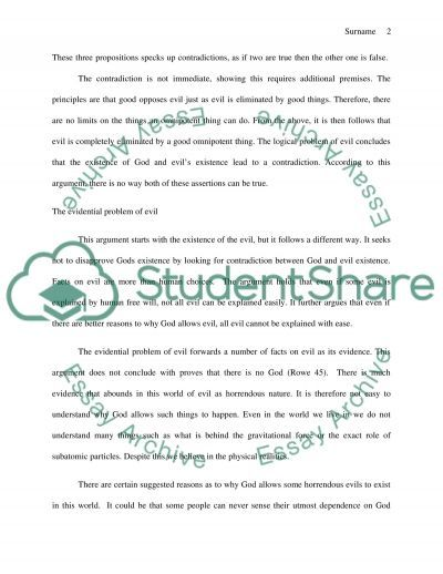 Problem of Evil: Philosophy Paper essay example