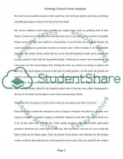 Critical event analysis essay example