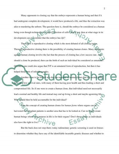 Cloning Issues essay example