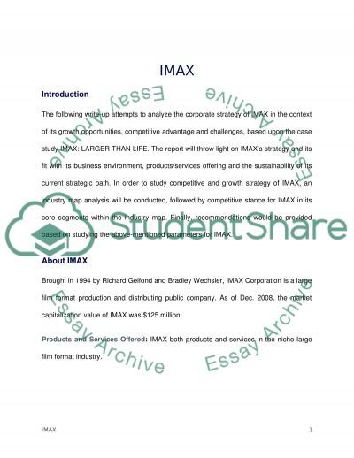 imax larger than life strategic management essay strategic management essay example