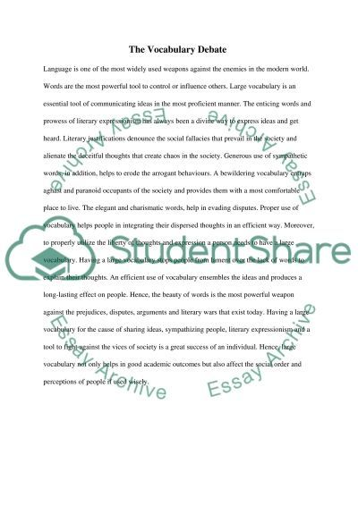 Why having a large vocabulary is good essay example