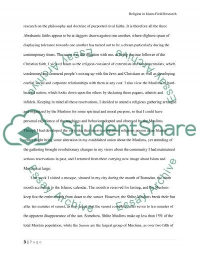 Islam Religion Field Research essay example