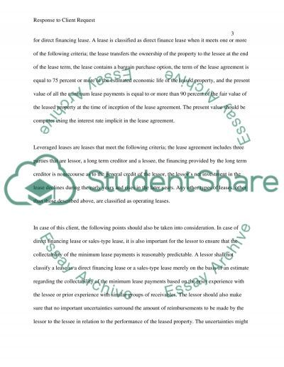 Response to Client Request  Essay example