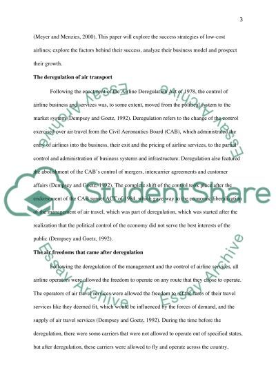 Low Cost Airlines Essay example