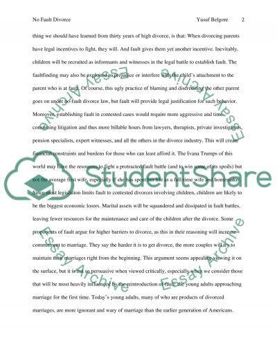 No fault divorce essay example