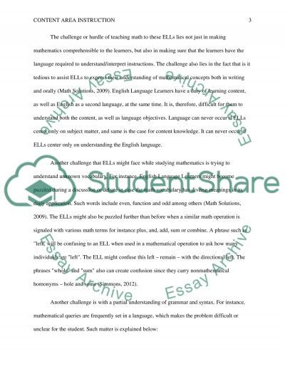Content Area Instruction and SDAIE essay example