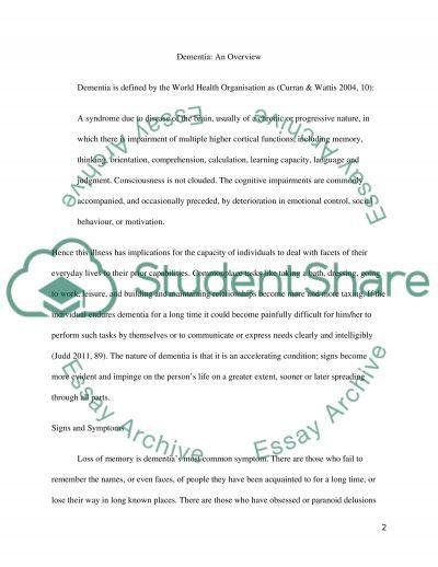 Mental Health iIlness (DEMENTIA) essay example