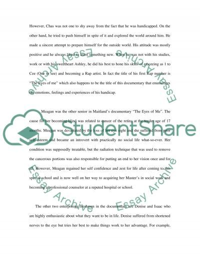 Students With Visual Impairment - Reflection and Response essay example