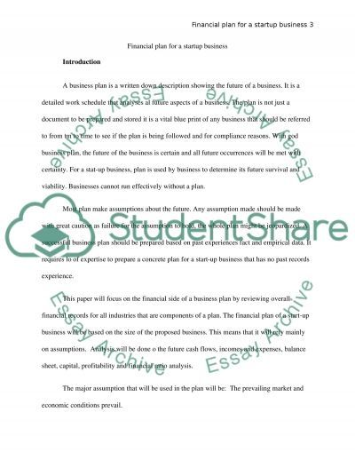 Business plan for a start-up ( Financial data) essay example