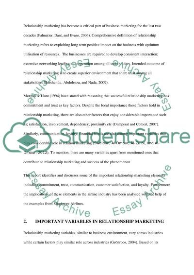 IMPORTANCE OF RELATIONSHIP MARKETING essay example