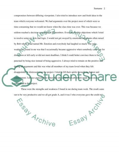 Strength Assignments essay example