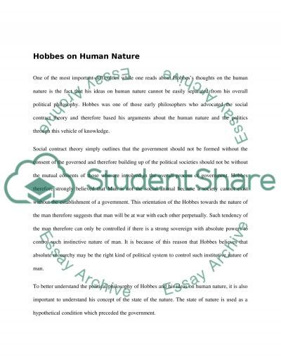 Political Philosophy (Hobbes ideas about human nature)