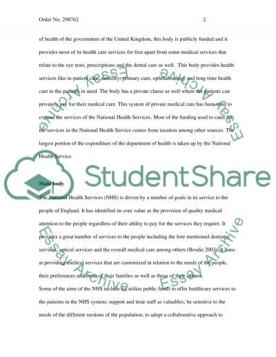 Healthcare system essay example