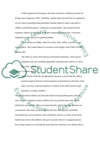 Should Parents be Subjected to Licencing essay example