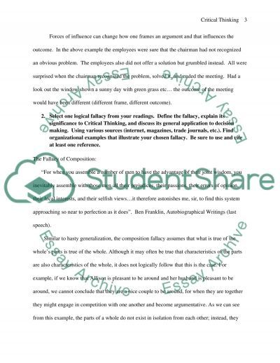 Critical Thinking Discussion Question essay example