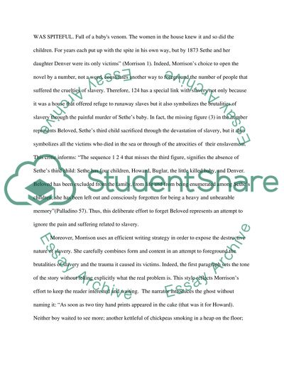 A research paper about Toni Morrisons novel Beloved