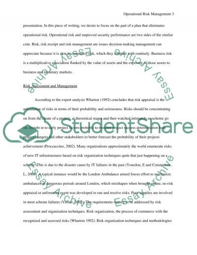 Operational Risk management essay example