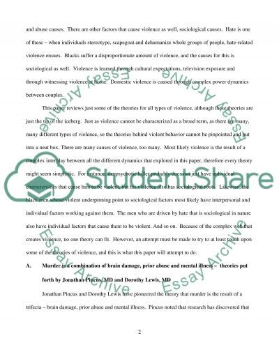 Violence and Aggression in Human Behavior essay example