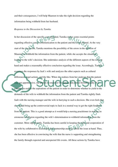 Discussion and reply to a discussion Essay
