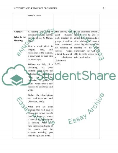 Activity and Resource Organizer essay example