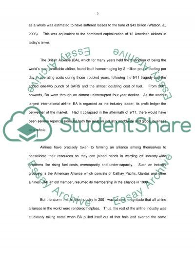 Airlines essay example