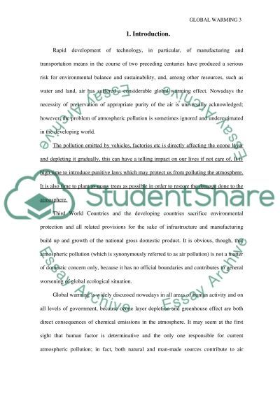 Research paper on Global Warming essay example