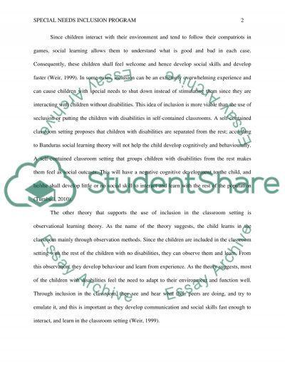 Special Needs Inclusion Education Program essay example