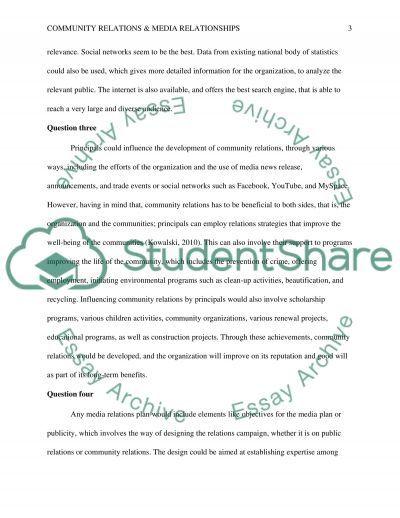 Community Relations & Media Relationships essay example