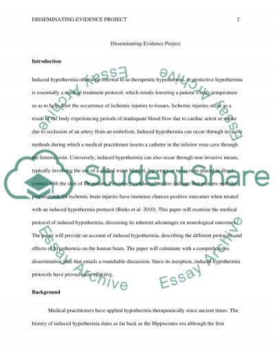Disseminating-Evidence Project Essay example