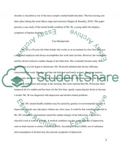 Assessment and care of a client with complex needs. Mental Health nursing] essay example
