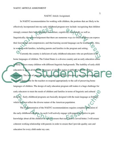 NAEYC article assignment