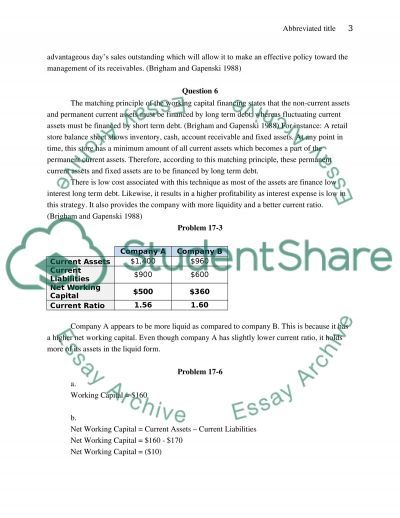 Finance Problem Solving essay example