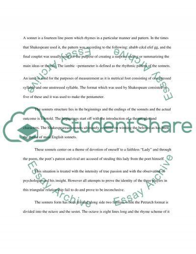 The Shakespearean Sonnets essay example