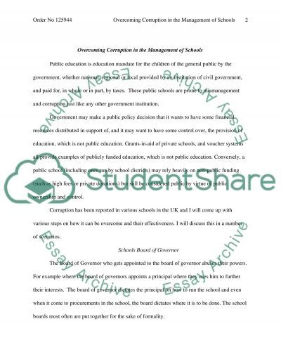 Overcoming Corruption in School Management essay example