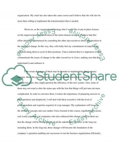 Family business organizational change essay example