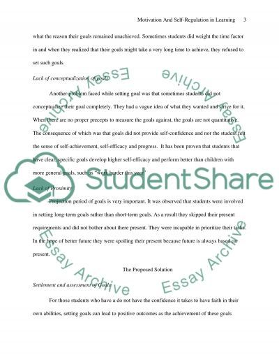 Motivation and Self -Regulation in Learning essay example
