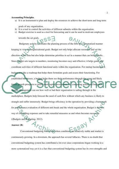 Account principle essay example