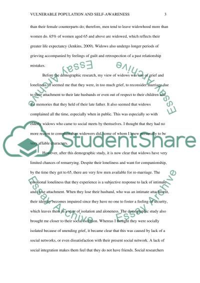 Vulnerable Population and Self-Awareness Paper essay example