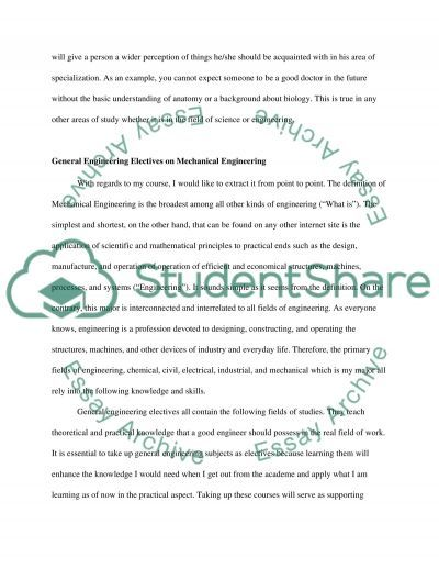 Mechanical Engineering Essay example