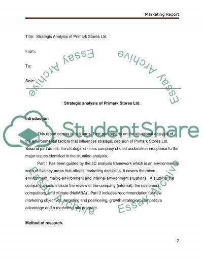 Marketing report (Strategic analysis of Primark Stores Ltd.) essay example