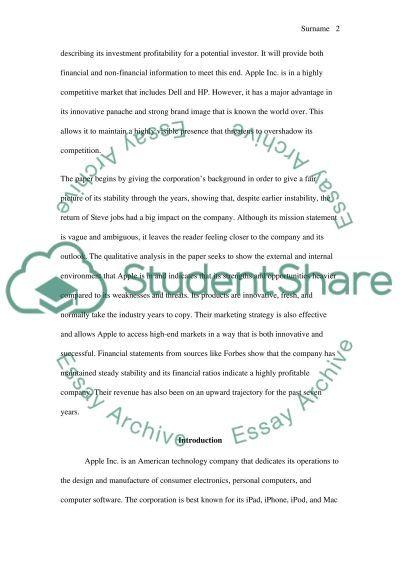 Company analysis: Apple Inc essay example